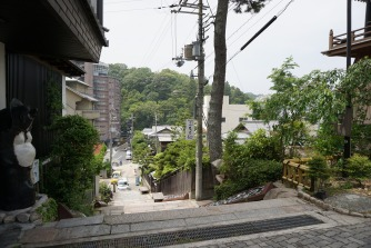 View of the street of Arima-onsen from Onsenji Temple