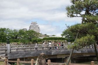 The wooden bridge in front of Himeji Castle