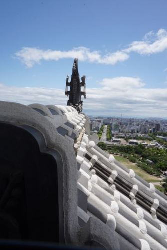 View of the roof from the top floor of Himeji Castle