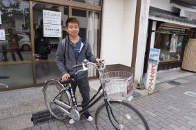 My friend with his rented bike