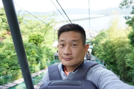 Taking a selfie riding the cable car
