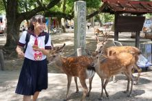 This local school girl was terrified by the deers