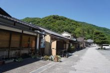 Some of the shops next to Katsura River