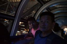 Traveling on the float escalator in Umeda Sky Building