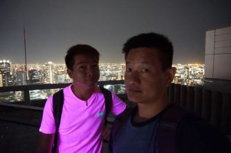 Taking a wefie at the open deck on Umeda Sky Building