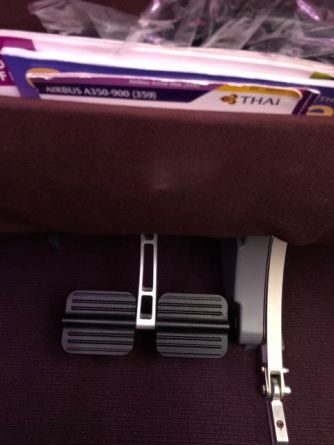 Seat pocket and leg rest on each seat