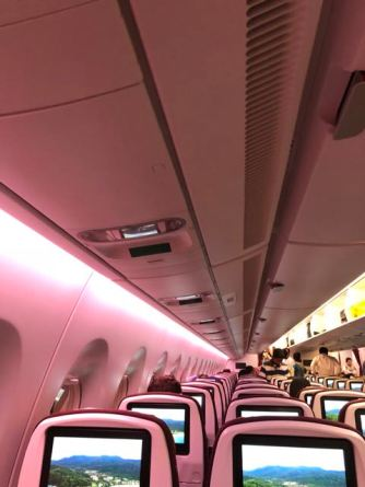 Purple mood lighting used during boarding at night