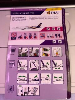 Thai Airways A350 safety card