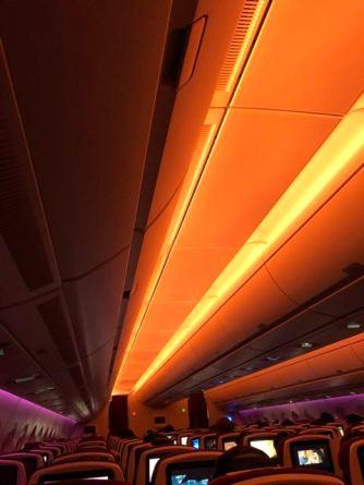 Night flight mid-flight mood lighting