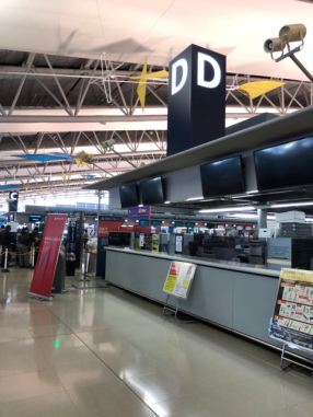 Thai Airways check-in counter uses Row D located in the centre of KIX