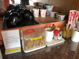 Cup noodles and miso soup in Royal Orchid Lounge