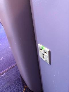 Power outlet can be found in the Business Class seat onboard Thai Airways A380