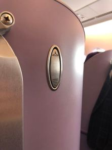 Coat hook in the Business Class seat