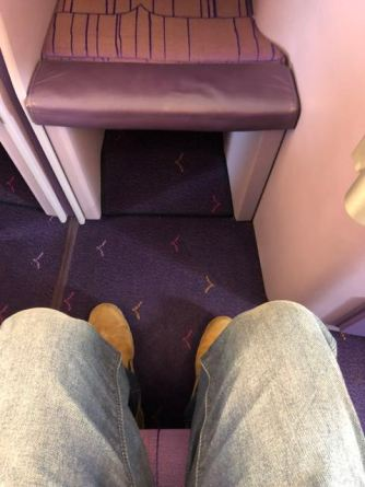 Legroom is very good onboard Thai Airways A380 Business Class cabin
