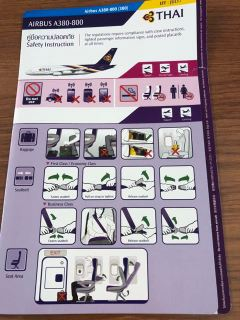 Thai Airways A380 safety card