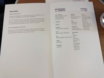 List of drinks available onboard Thai Airways Business Class