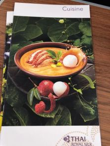 Business Class food menu
