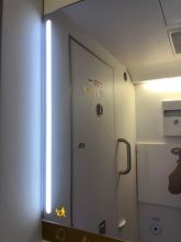 The lighting and the mirror gives the lavatory a sense of spaciousness