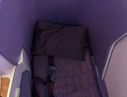 Thai Airways Business Class seat in Flatbed mode