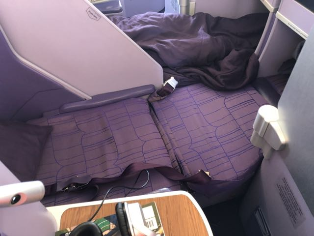 Thai Airways A380 Business Class seat in flatbed mode