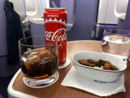 Nuts and drinks were distributed after seatbelt sign was turned off