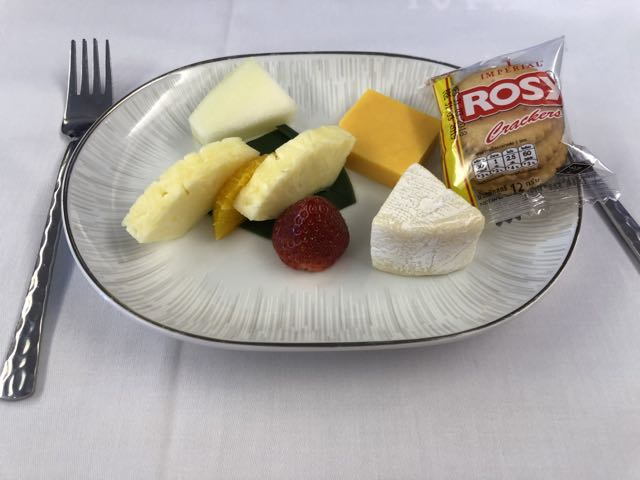 Fruit and cracker with cheese was served after the main course in Business Class cabin