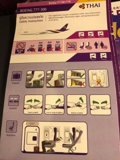 Thai Airways B777-300 safety card