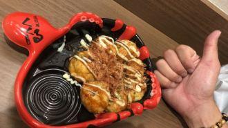 The takoyaki balls in Dotonbori