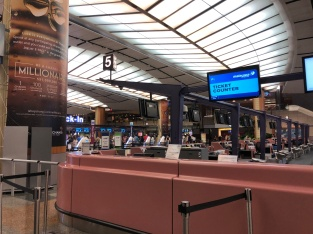 Malaysia Airlines check-in counters are located at Row 5 in Singapore Changi Airport