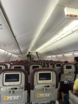 White mood lighting used during boarding makes the cabin look clean and spacious