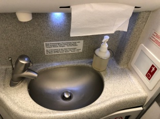 Sink area with hand soap as the only amenities onboard