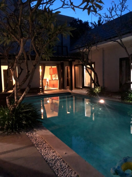 The private swimming pool at night
