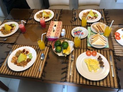 Breakfast served in the villa
