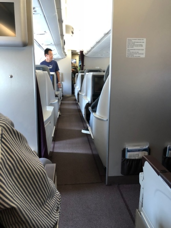Peeking into Business Class cabin