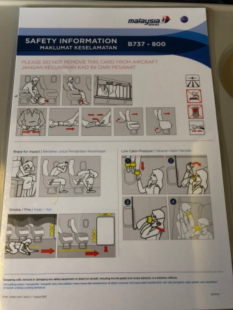 Malaysia airlines B737-800 safety card