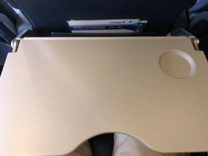 Tray table folded down