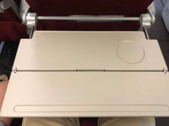 Tray table fully deployed