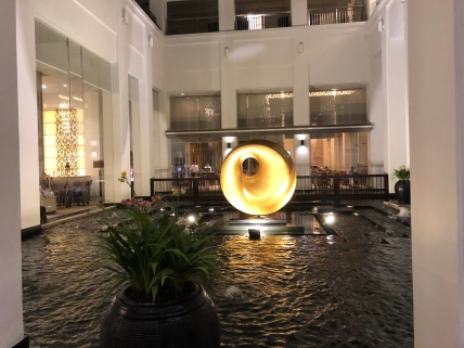 Water feature next to the lobby