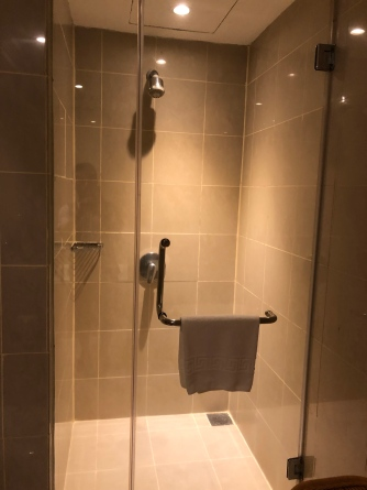There is a walk-in shower stall in the master bathroom