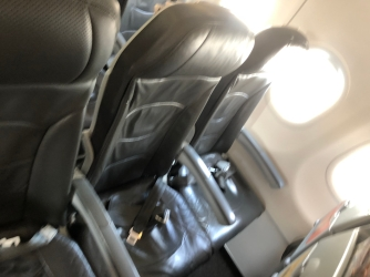 Seats onboard Jetstar A320-200 are covered in leather