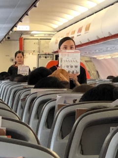 One of the few occasions cabin crews were seen onboard