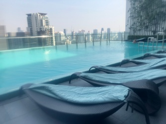 Infinity pool on the roof top of Hilton Sukhumvit Bangkok