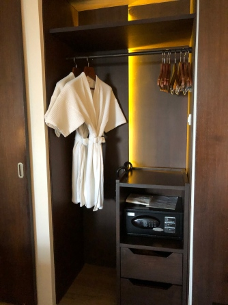 The wardrobe on the right is for guests to stow their clothings