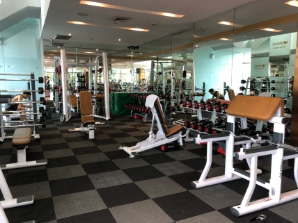The gym is has numerous workout equipment