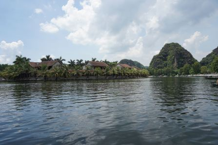 Riding on the boat towards the first cave