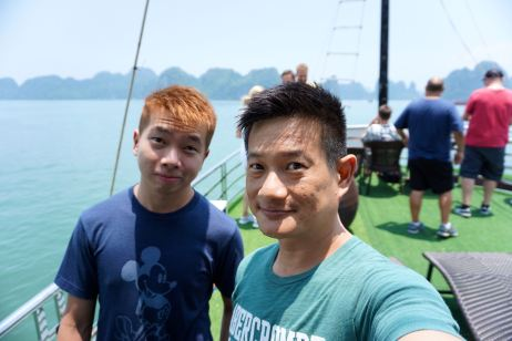Taking a wefie on the top deck of the boat in Halong Bay