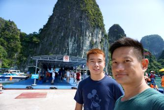 My friend and I at the floating platform near Luon Cave