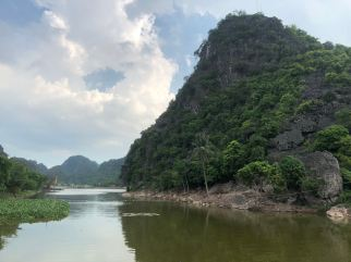 Limestone hills by the moat that surrounds Hoa Lu