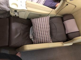 Business Class seat in Semi-bed mode