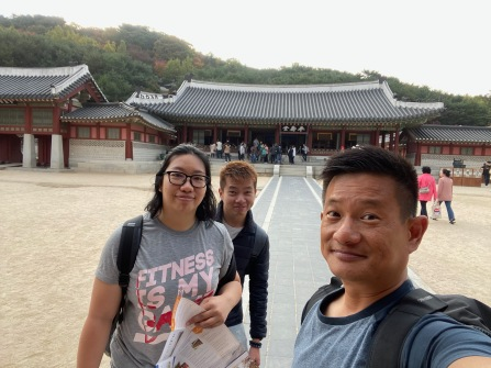 Wefie with the main audience hall in Hwaseong Haenggung